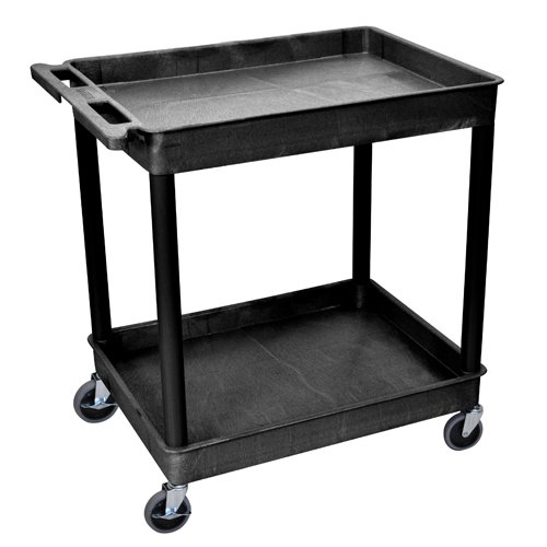 Luxor 2-Shelf Black Large Tub Utility Cart (TC11-B), Luxor brand Image 1