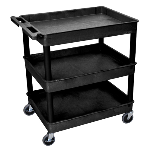 Luxor 3-Shelf Black Large Tub Utility Cart (TC111-B)