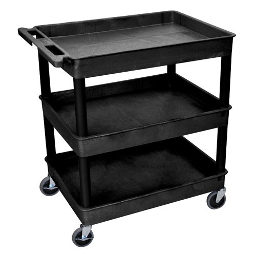 Luxor 3-Shelf Black Large Tub Utility Cart (TC111-B) Image 1