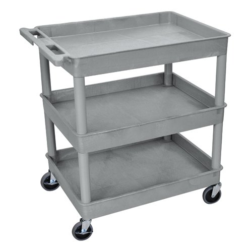 Luxor 3-Shelf Gray Large Tub Utility Cart (TC111-G)