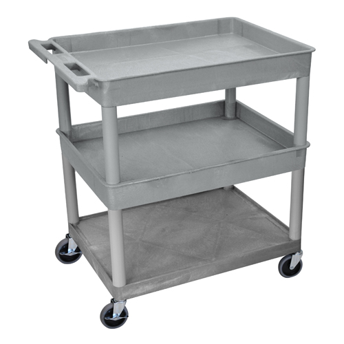 Luxor Gray Large Top/Middle Tub and Bottom Flat Shelf Utility Cart (TC112-G) Image 1