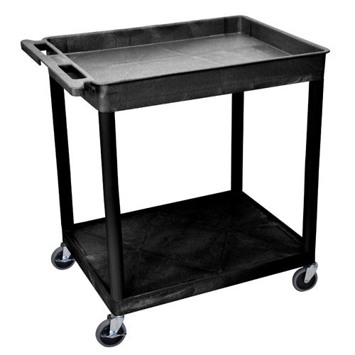 Luxor Black Large Top Tub and Bottom Flat Shelf Utility Cart (TC12-B) Image 1