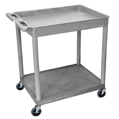 Luxor Gray Large Top Tub and Bottom Flat Shelf Utility Cart (TC12-G), Luxor brand Image 1