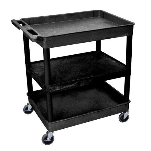 Luxor Black Large Top/Bottom Tub and Middle Flat Shelf Utility Cart (TC121-B), Boards Image 1
