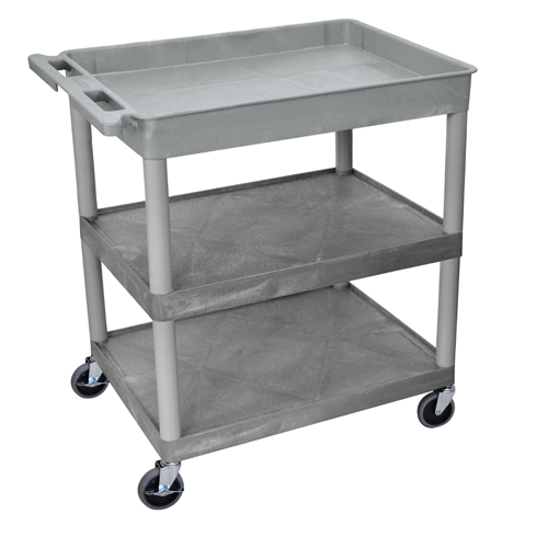 Luxor Gray Large Top Tub and Middle/Bottom Flat Shelf Utility Cart (TC122-G) Image 1
