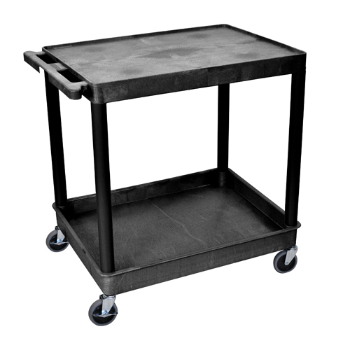 Luxor Black Large Top Flat and Bottom Tub Shelf Utility Cart (TC21-B)