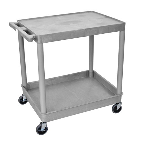 Luxor Gray Large Top Flat and Bottom Tub Shelf Utility Cart (TC21-G), Luxor brand Image 1