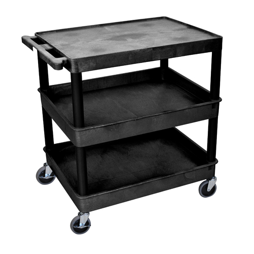 Luxor Black Large Top Flat and Middle/Bottom Tub Shelf Utility Cart (TC211-B) - $203.99 Image 1