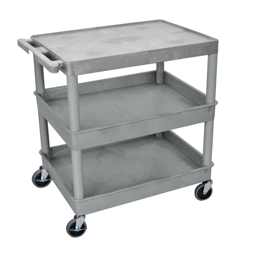 Luxor Gray Large Top Flat and Middle/Bottom Tub Shelf Utility Cart (TC211-G), Luxor brand Image 1