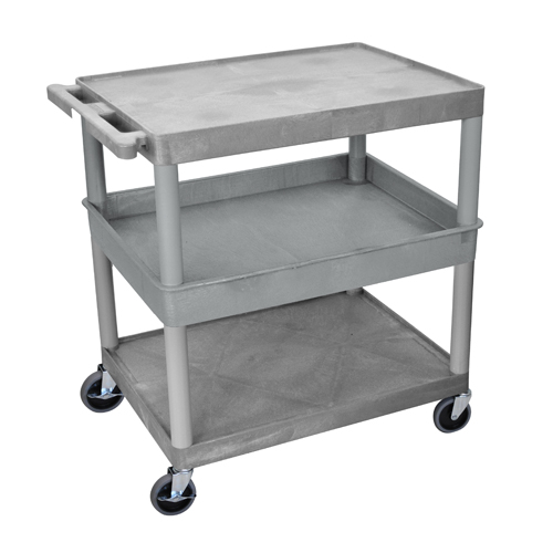 Luxor Gray Large Top/Bottom Flat and Middle Tub Shelf Utility Cart (TC212-G), Luxor brand Image 1