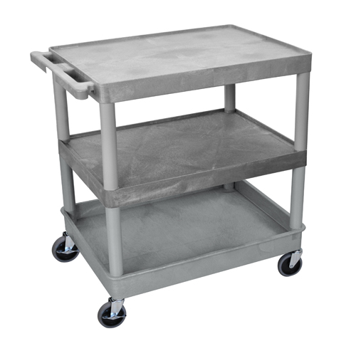 Luxor Gray Large Top/Middle Flat and Bottom Tub Shelf Utility Cart (TC221-G), Luxor brand Image 1