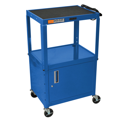 Adjustable Height Shelf Steel Cart with Cabinet Image 1