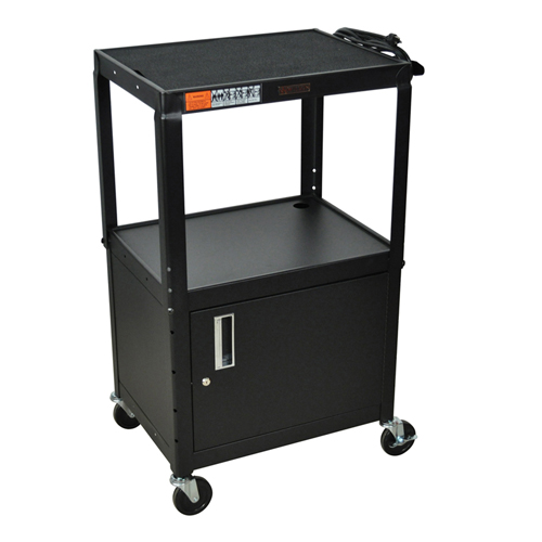 H. Wilson Black Adjustable Height 3-Shelf Steel A/V Cart with Cabinet (W42ACE), H. Wilson brand Image 1