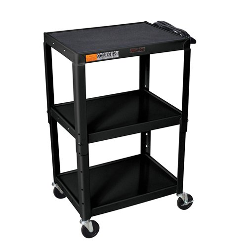 H. Wilson Black Adjustable Height 3-Shelf Steel A/V Cart (W42AE) Image 1