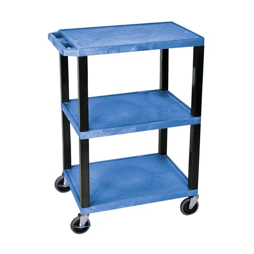 H. Wilson Blue 3-Shelf Tuffy Utility Cart (WT34BUS) Image 1