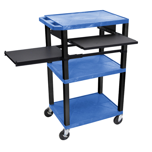 "H. Wilson 42"" High Blue Tuffy Utility A/V Cart with Side and Front Pull-out Shelf (3-Shelf Black Legs) (WTPSLP42BUE-B), H. Wilson brand Image 1"