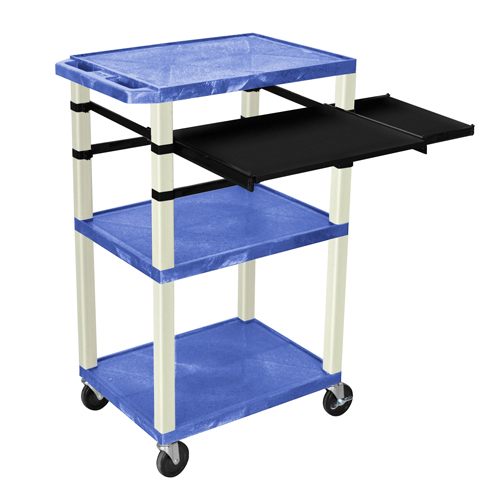 "H. Wilson 42"" High Blue Tuffy Utility A/V Cart with Side and Front Pull-out Shelf (3-Shelf Putty Legs) (WTPSLP42BUE), H. Wilson brand Image 1"