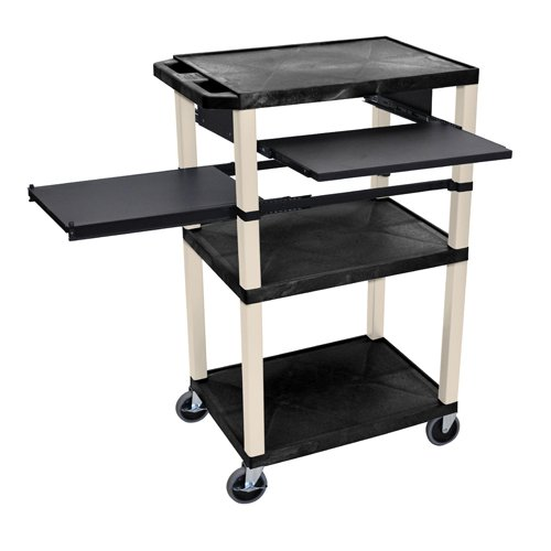 "H. Wilson 42"" High Black Tuffy Utility A/V Cart with Side and Front Pull-out Shelf (3-Shelf Putty Legs) (WTPSLP42E-P), H. Wilson brand Image 1"