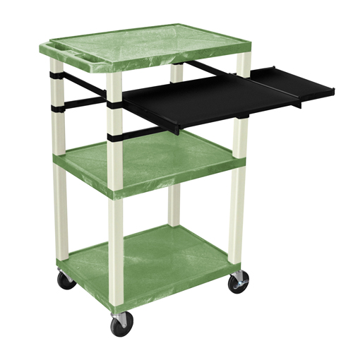 """H. Wilson 42"""" High Green Tuffy Utility A/V Cart with Side and Front Pull-out Shelf (3-Shelf Putty Legs) (WTPSLP42GE) Image 1"""