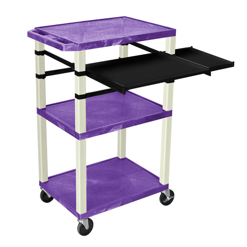 """H. Wilson 42"""" High Purple Tuffy Utility A/V Cart with Side and Front Pull-out Shelf (3-Shelf Putty Legs) (WTPSLP42PE) Image 1"""