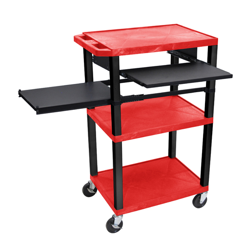 "H. Wilson 42"" High Red Tuffy Utility A/V Cart with Side and Front Pull-out Shelf (3-Shelf Black Legs) (WTPSLP42RE-B) Image 1"