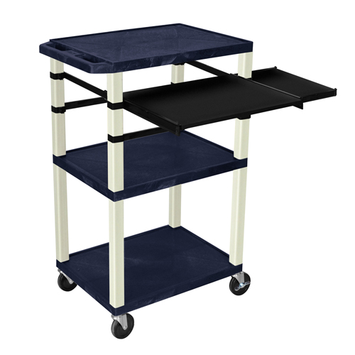 """H. Wilson 42"""" High Navy Tuffy Utility A/V Cart with Side and Front Pull-out Shelf (3-Shelf Putty Legs) (WTPSLP42ZE) Image 1"""