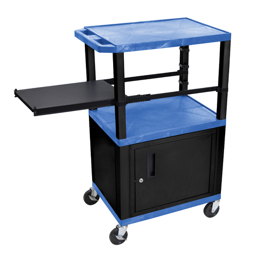 """H. Wilson 42"""" High Blue Tuffy Utility A/V Cart with Cabinet and Side Pull-out Shelf (3-Shelf Black Legs) (WTPSP42BUC2E-B) Image 1"""