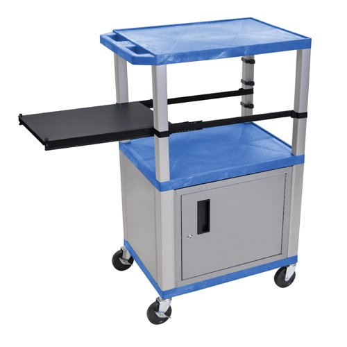 "H. Wilson 42"" High Blue Tuffy Utility A/V Cart with Cabinet and Side Pull-out Shelf (3-Shelf Nickel Legs) (WTPSP42BUC4E-N), H. Wilson brand Image 1"