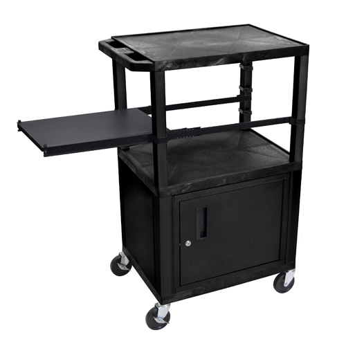 "H. Wilson 42"" High Black Tuffy Utility A/V Cart with Cabinet and Side Pull-out Shelf (3-Shelf Black Legs) (WTPSP42C2E-B), H. Wilson brand Image 1"