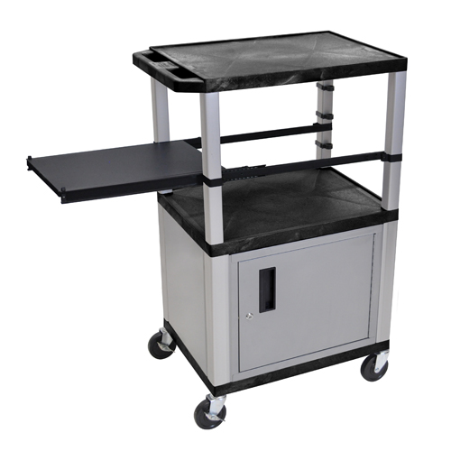 "H. Wilson 42"" High Black Tuffy Utility A/V Cart with Cabinet and Side Pull-out Shelf (3-Shelf Nickel Legs) (WTPSP42C4E-N), H. Wilson brand Image 1"