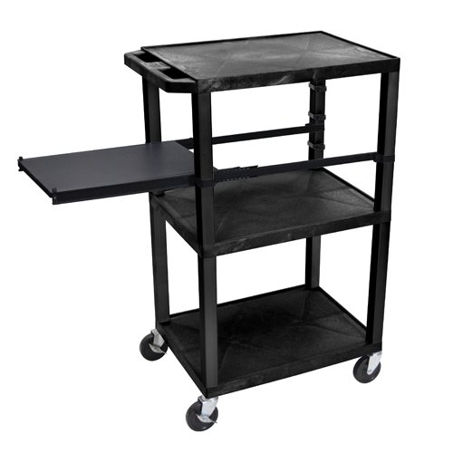 "H. Wilson 42"" High Black Tuffy Utility A/V Cart with Side Pull-out Shelf (3-Shelf Black Legs) (WTPSP42E-B), H. Wilson brand Image 1"