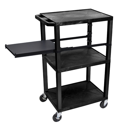 "H. Wilson 42"" High Black Tuffy Utility A/V Cart with Side Pull-out Shelf (3-Shelf Black Legs) (WTPSP42E-B) - $166.6 Image 1"
