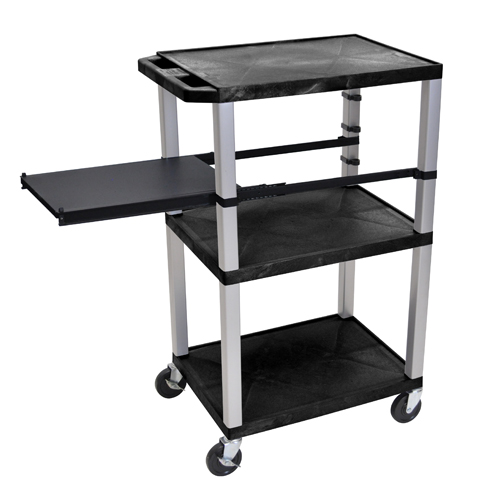 "H. Wilson 42"" High Black Tuffy Utility A/V Cart with Side Pull-out Shelf (3-Shelf Nickel Legs) (WTPSP42E-N), H. Wilson brand Image 1"