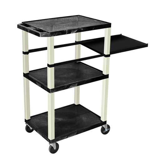 "H. Wilson 42"" High Black Tuffy Utility A/V Cart with Side Pull-out Shelf (3-Shelf Putty Legs) (WTPSP42E-P), H. Wilson brand Image 1"