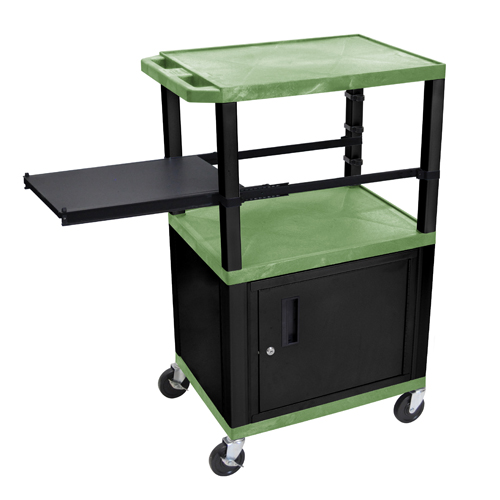 """H. Wilson 42"""" High Green Tuffy Utility A/V Cart with Cabinet and Side Pull-out Shelf (3-Shelf Black Legs) (WTPSP42GC2E-B) - $250.6 Image 1"""