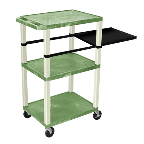"H. Wilson 42"" High Green Tuffy Utility A/V Cart with Side Pull-out Shelf (3-Shelf Putty Legs) (WTPSP42GE) Image 1"
