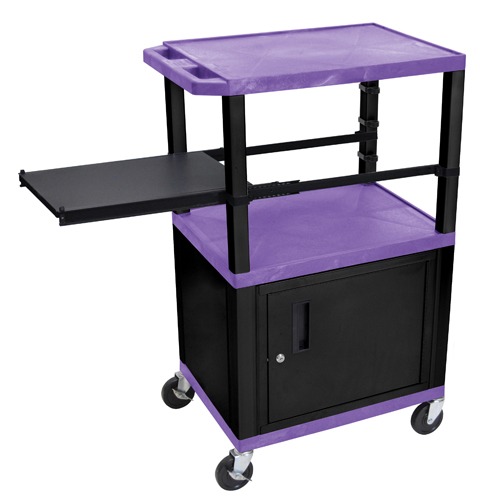 """H. Wilson 42"""" High Purple Tuffy Utility A/V Cart with Cabinet and Side Pull-out Shelf (3-Shelf Black Legs) (WTPSP42PC2E-B) Image 1"""