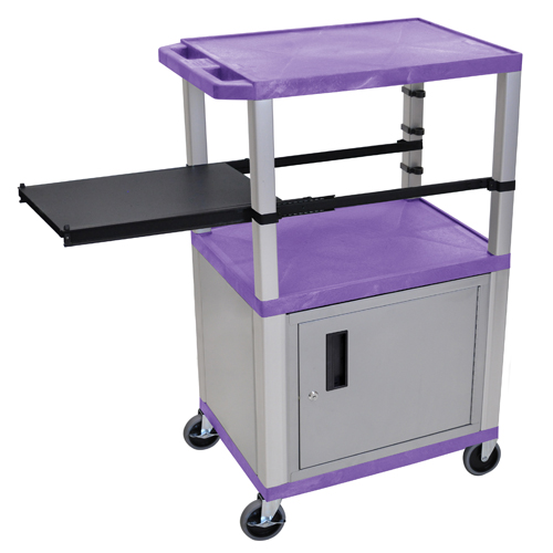 "H. Wilson 42"" High Purple Tuffy Utility A/V Cart with Cabinet and Side Pull-out Shelf (3-Shelf Nickel Legs) (WTPSP42PC4E-N) Image 1"