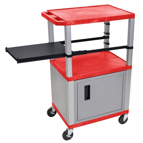 "H. Wilson 42"" High Red Tuffy Utility A/V Cart with Cabinet and Side Pull-out Shelf (3-Shelf Nickel Legs) (WTPSP42RC4E-N) Image 1"