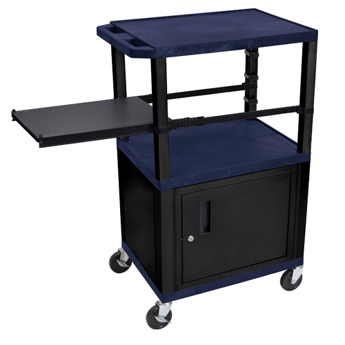"""H. Wilson 42"""" High Navy Tuffy Utility A/V Cart with Cabinet and Side Pull-out Shelf (3-Shelf Black Legs) (WTPSP42ZC2E-B) Image 1"""