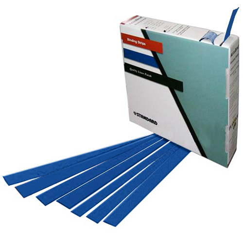 "Planax Copy Binder Blue 1-3/8"" x 11"" Tape Binding Strips (Size D) - 179/Roll (AB1-D2502) Image 1"