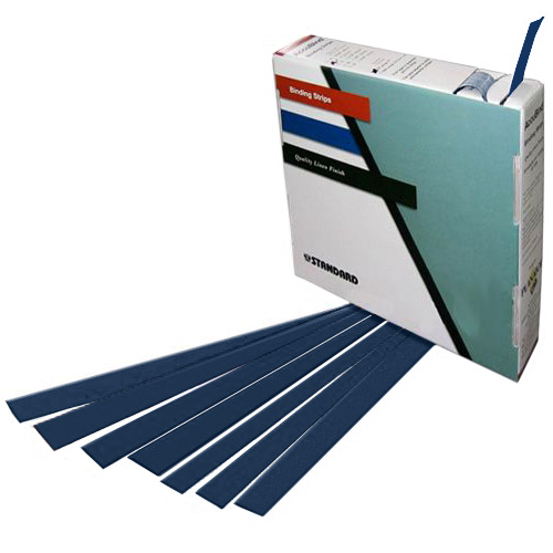 "Planax Copy Binder Dark Blue 1-3/8"" x 11"" Tape Binding Strips (Size D) - 179/Roll (AB1-D2507) Image 1"