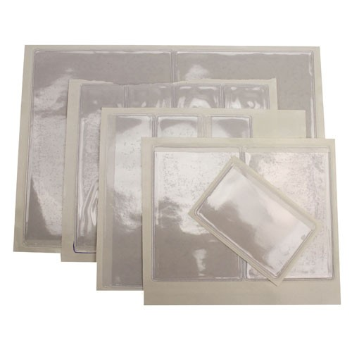 "1-3/8"" x 2-3/8"" Crystal Clear Adhesive Vinyl Pockets 100pk (STB-1433) Image 1"
