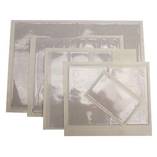 "7-3/8"" x 15-5/8"" Crystal Clear Adhesive Vinyl Pockets 100pk (STB-2363) Image 1"