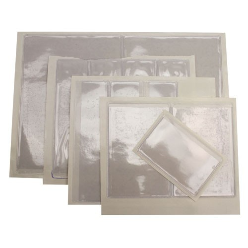 "1-3/8"" x 3-3/8"" Crystal Clear Adhesive Vinyl Pockets 100pk (STB-1372) Image 1"