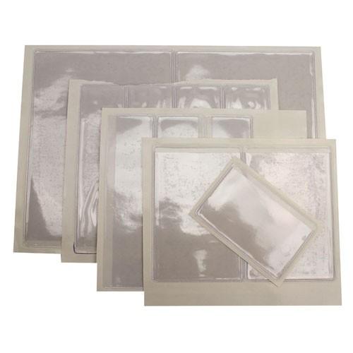 "3-5/8"" x 8-7/8"" Crystal Clear Adhesive Vinyl Pockets 100pk (STB-842) Image 1"