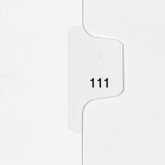 111 - All-State Style Letter Size Individual Number Side Tab Legal Indexes - 25pk (HCM180111) Image 1