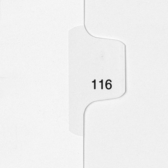 116 - All-State Style Letter Size Individual Number Side Tab Legal Indexes - 25pk (HCM180116) Image 1