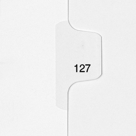 127 - All-State Style Letter Size Individual Number Side Tab Legal Indexes - 25pk (HCM180127) Image 1