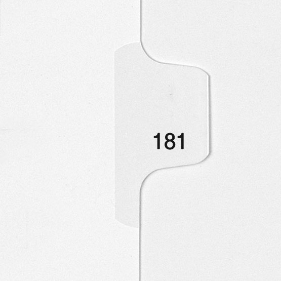 181 - All-State Style Letter Size Individual Number Side Tab Legal Indexes - 25pk (HCM180181) Image 1